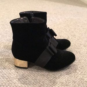 Velvet, zip up dress boots. Color- black